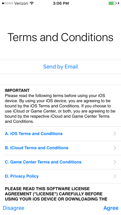 iOS 9 Terms and Conditions