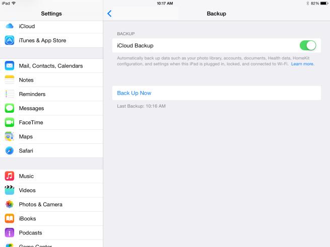 iOS 8 iCloud Backup Settings